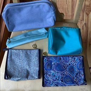 Bundle of 5 Estée Lauder blue cosmetic bags